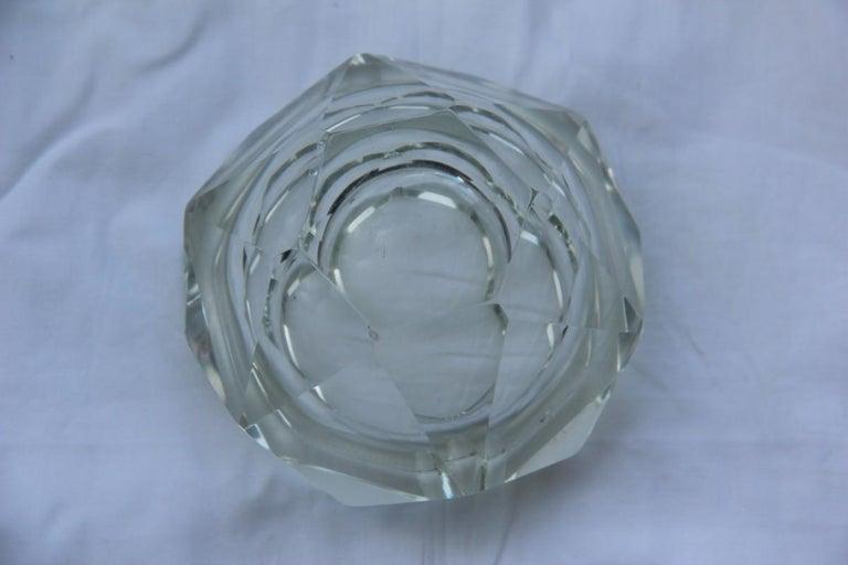 Italian Diamond Shaped Ashtray Shining Italy Design 1960s Transparent Glass For Sale