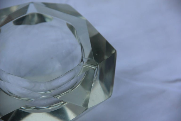 Mid-20th Century Diamond Shaped Ashtray Shining Italy Design 1960s Transparent Glass For Sale