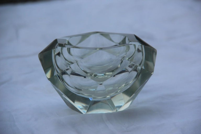 Murano Glass Diamond Shaped Ashtray Shining Italy Design 1960s Transparent Glass For Sale