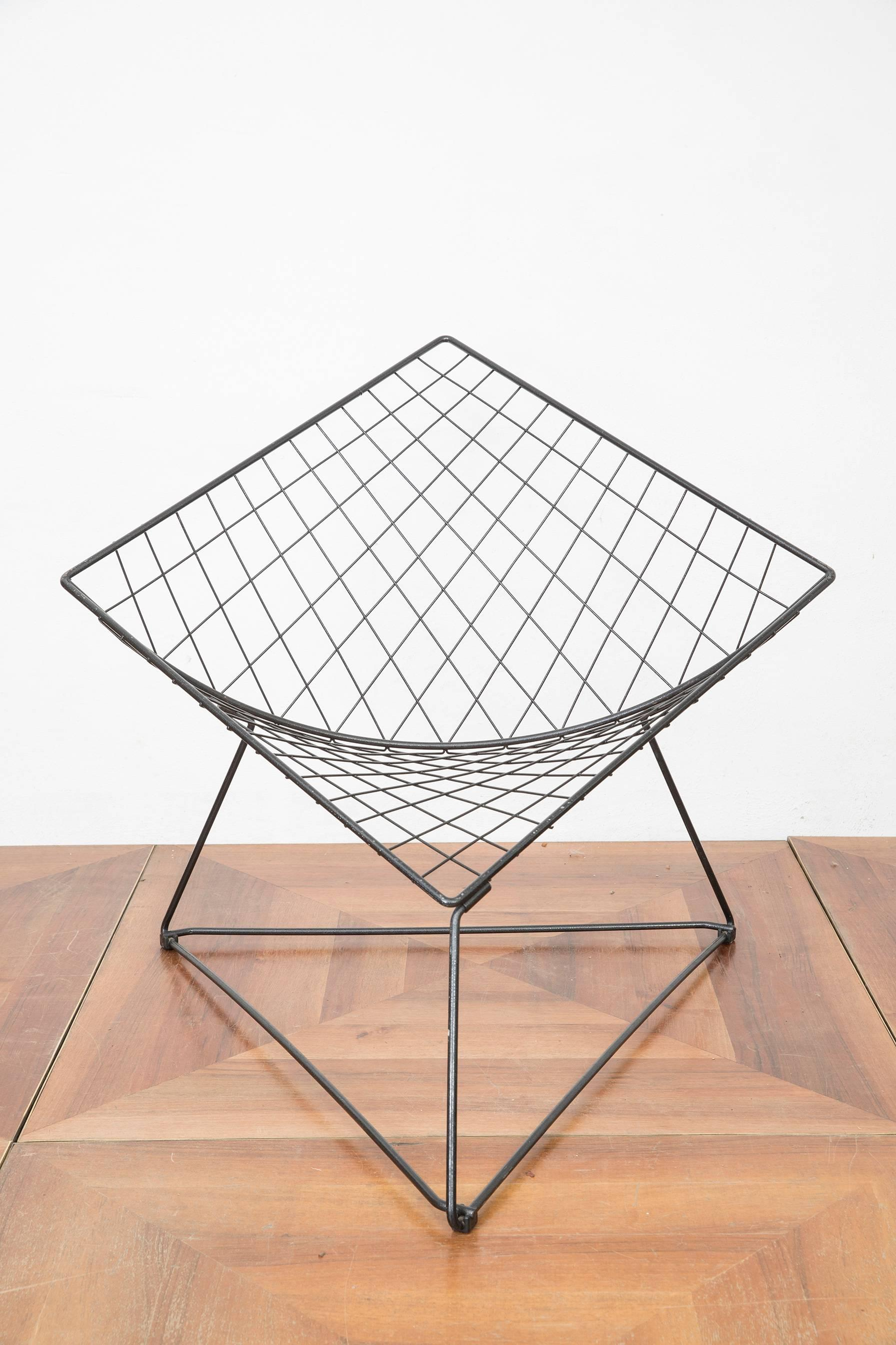 Post Modern Diamond Shaped Metal Wired Chair Designed By Niels Gammelgaard  In The 1980s For