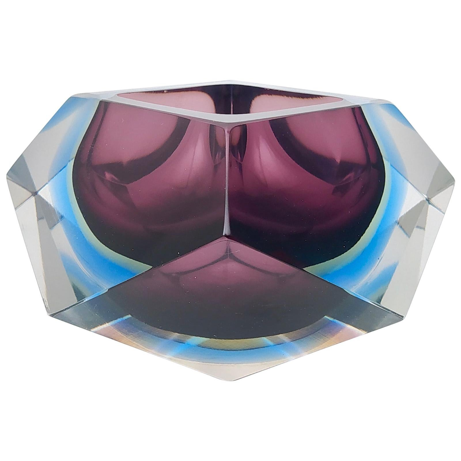 Diamond Shaped Sommerso Glass Ashtray or Catchall by Flavio Poli, Italy, 1960s