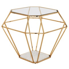 Diamond Side Table in Gold Finish with Tempered Clear Glass Top and Marble Base