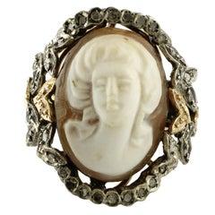 Diamond Silver Gold Cameo Ring