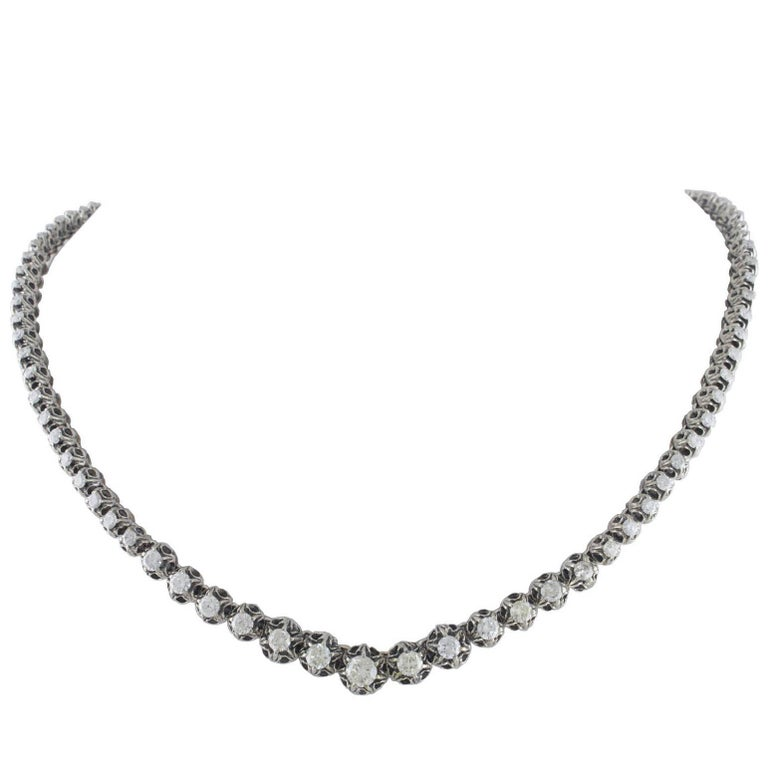Diamond Gold and Silver Choker Necklace