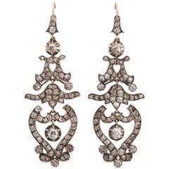 Diamond Silver-Upon-Gold Drop Earrings