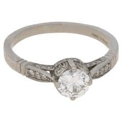 Vintage Diamond Engagement Ring Set in Platinum
