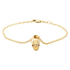 Diamond Skull Charm Silver Bracelet Yellow Gold-Plated