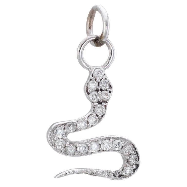 Diamond Snake Charm Pendant Estate 14 Karat White Gold Vintage Fine Jewelry For Sale