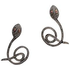 Diamond Snake Drop Earrings with Ruby Eyes