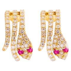Diamond Snake Earrings, Pave Diamond Ruby Serpent Earring Studs, 14 Karat Gold