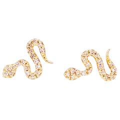 Diamond Snake Earrings, Pave Diamond Serpent Earring Studs in Yellow Gold