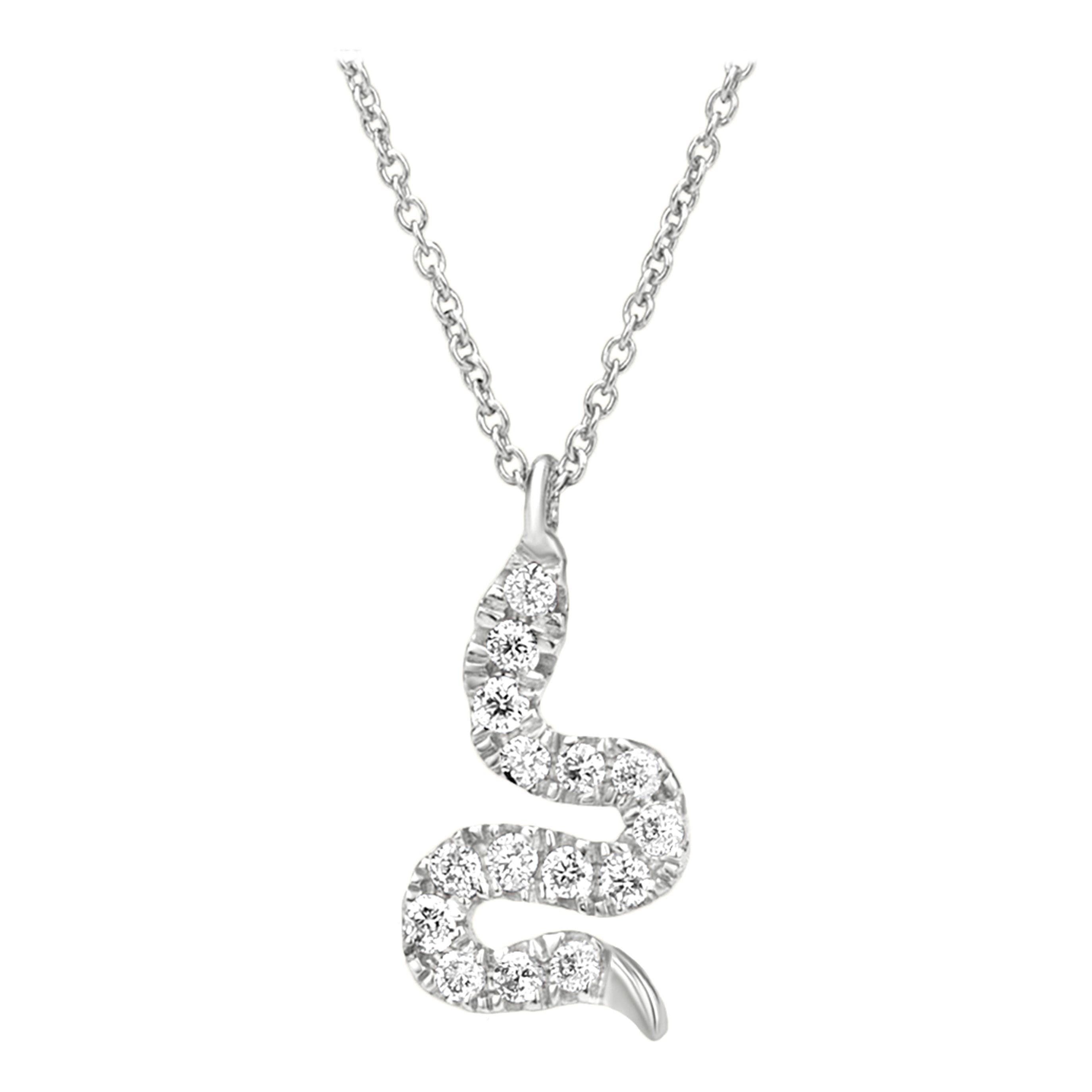 Snake Diamond Pendant Necklace in 18k White Gold