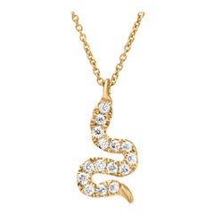 Snake Diamond Pendant Necklace in 18k Yellow Gold