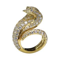 Diamond Snake Ring 18 Karat Yellow Gold Snake