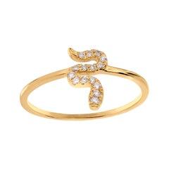 Diamond Snake Ring in 18K Yellow Gold