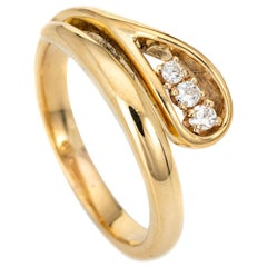 Diamond Snake Ring Vintage 18 Karat Yellow Gold Estate Fine Serpent Jewelry