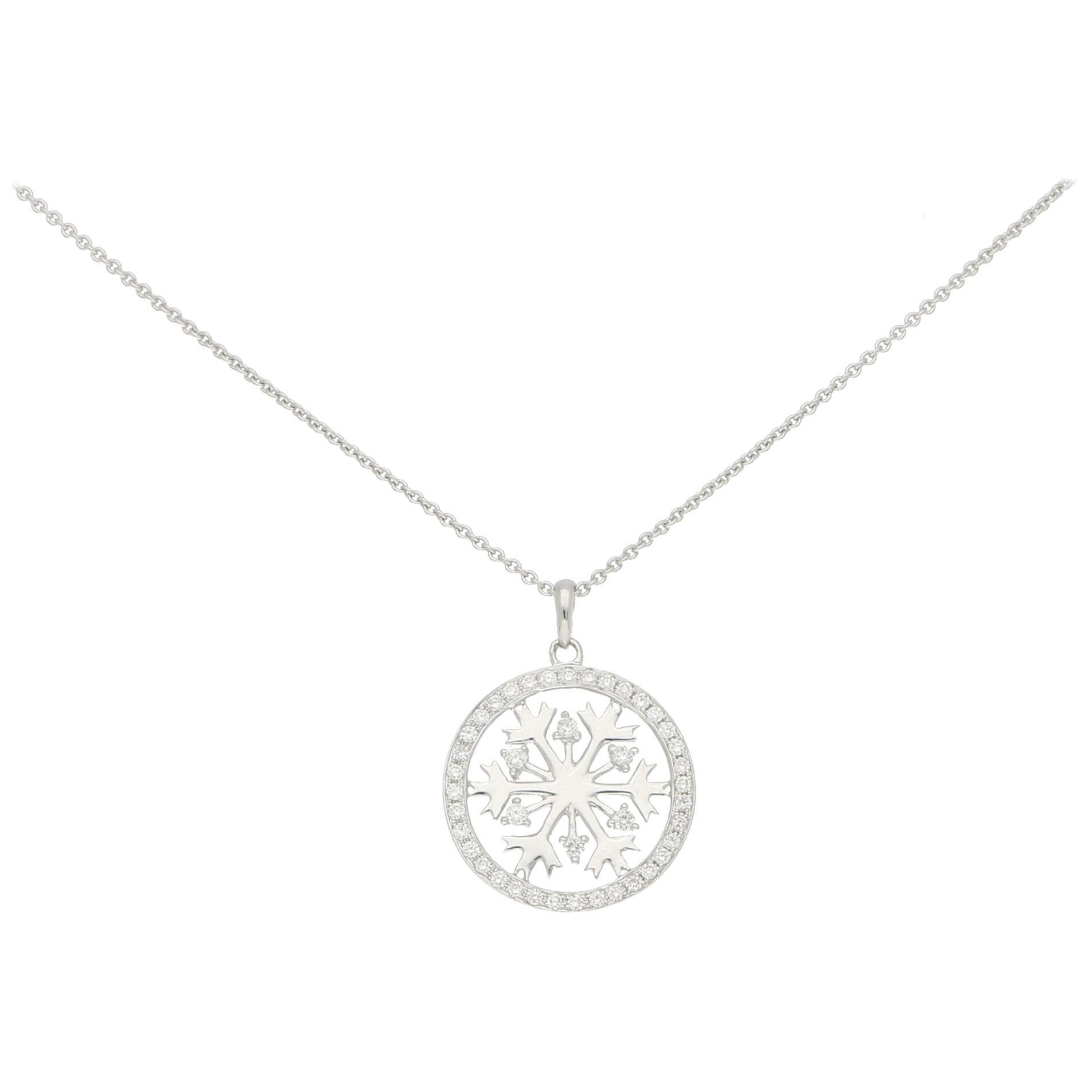 Diamond Snowflake Necklace in 18 Karat White Gold