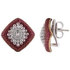 Diamond Snowflake Stud Earrings with a Bed of Rubies in 18 Karat Gold