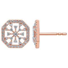 Diamond Snowflakes 18 Karat Gold Stud Earrings