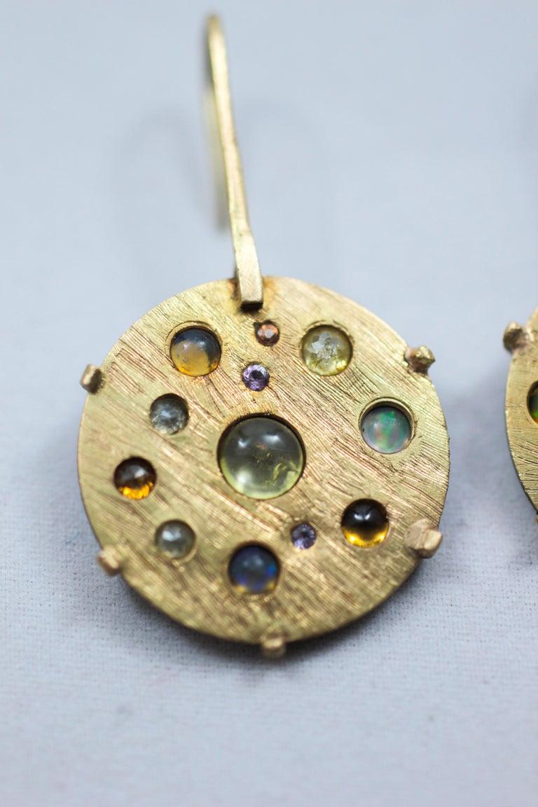 Women's Diamond Solid 21-22 Karat Gold Fine Silver Dangle Drop Contemporary Earrings For Sale