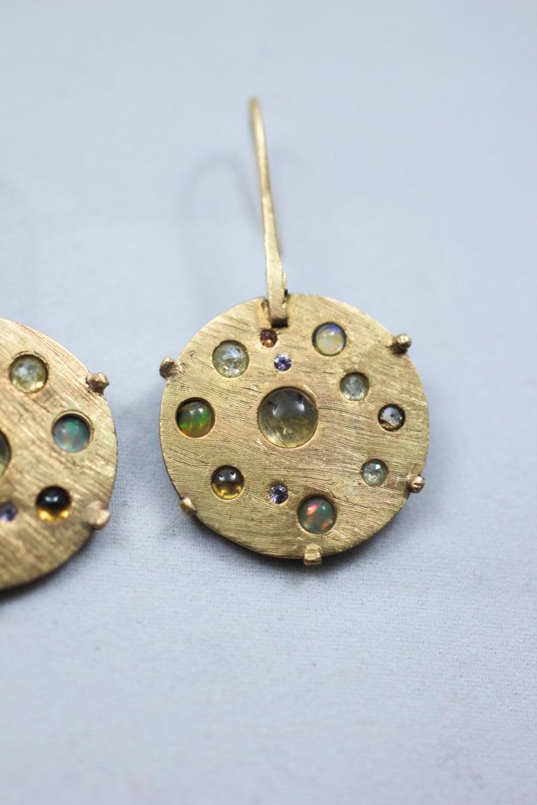 Diamond Solid 21-22 Karat Gold Fine Silver Dangle Drop Contemporary Earrings For Sale 1