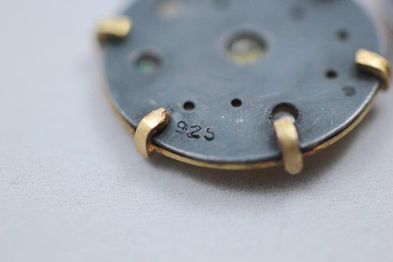 Diamond Solid 21-22 Karat Gold Fine Silver Dangle Drop Contemporary Earrings For Sale 2