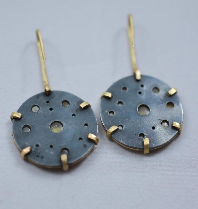 Diamond Solid 21-22 Karat Gold Fine Silver Dangle Drop Contemporary Earrings For Sale 4