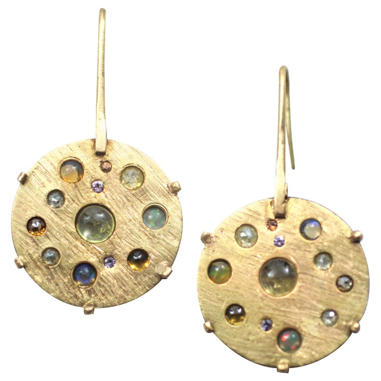 Diamond Solid 21-22 Karat Gold Fine Silver Dangle Drop Contemporary Earrings For Sale
