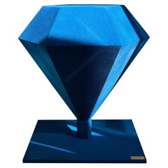 Diamond Solitaire Coffee Table, Polymethilmetacrilate, Velvet Blue, Handmade