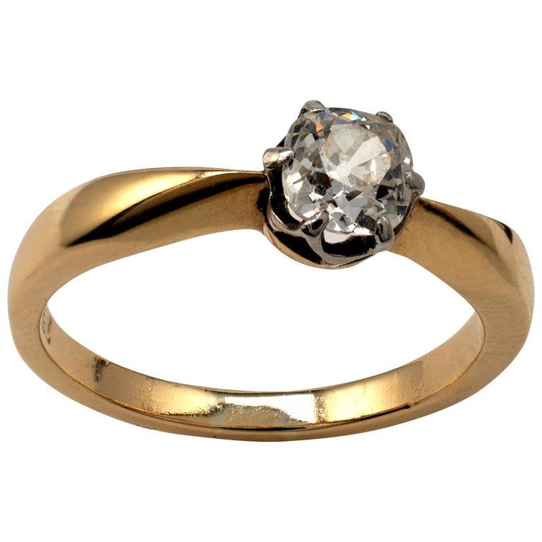 Diamond Solitaire Engagement Ring 0.50 Carat, 18 Karat Yellow Gold For Sale
