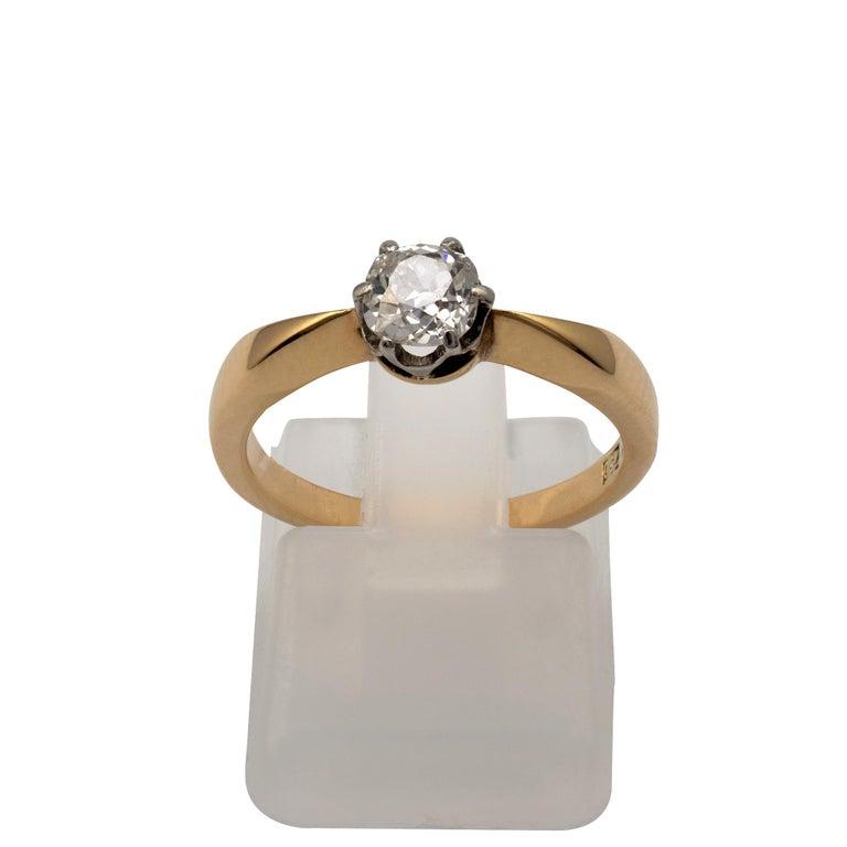 Diamond Solitaire Engagement Ring 0.50 Carat, 18 Karat Yellow Gold For Sale 4