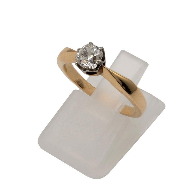 Diamond Solitaire Engagement Ring 0.50 Carat, 18 Karat Yellow Gold For Sale 5