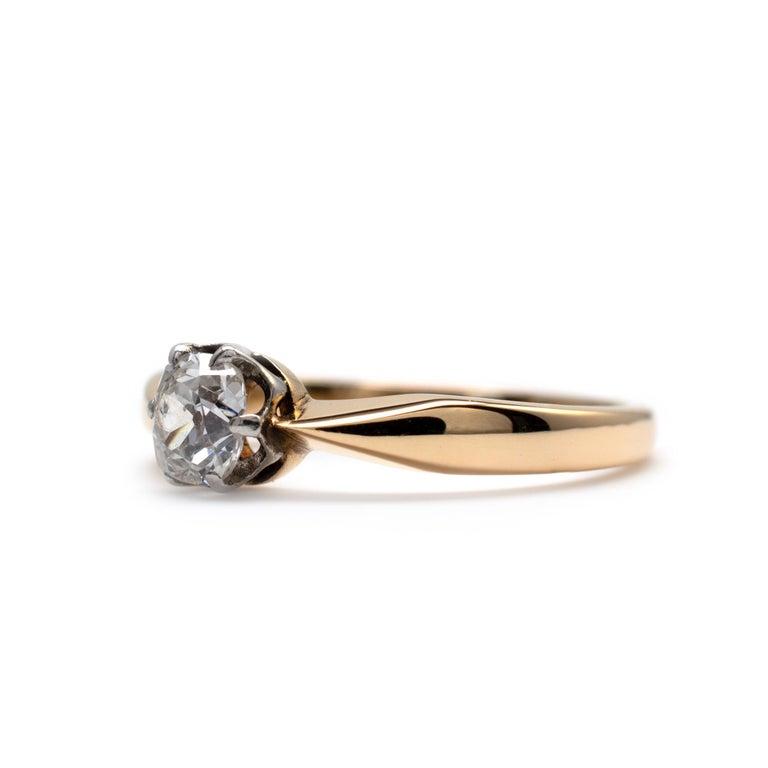 Art Deco Diamond Solitaire Engagement Ring 0.50 Carat, 18 Karat Yellow Gold For Sale