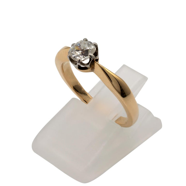 Old Mine Cut Diamond Solitaire Engagement Ring 0.50 Carat, 18 Karat Yellow Gold For Sale