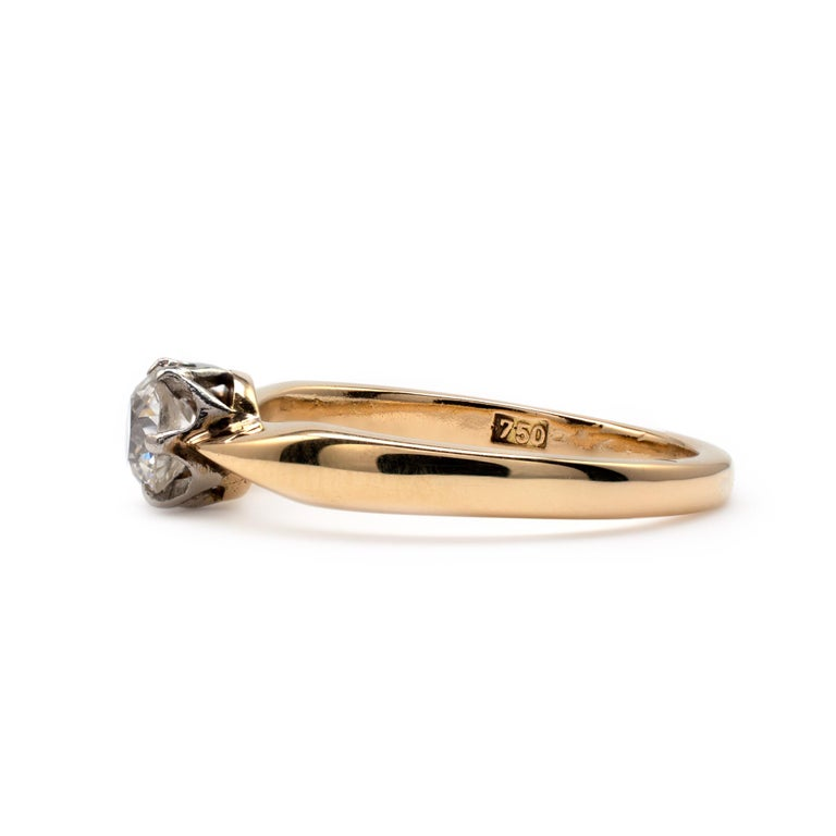 Diamond Solitaire Engagement Ring 0.50 Carat, 18 Karat Yellow Gold In Good Condition For Sale In Preston, Lancashire