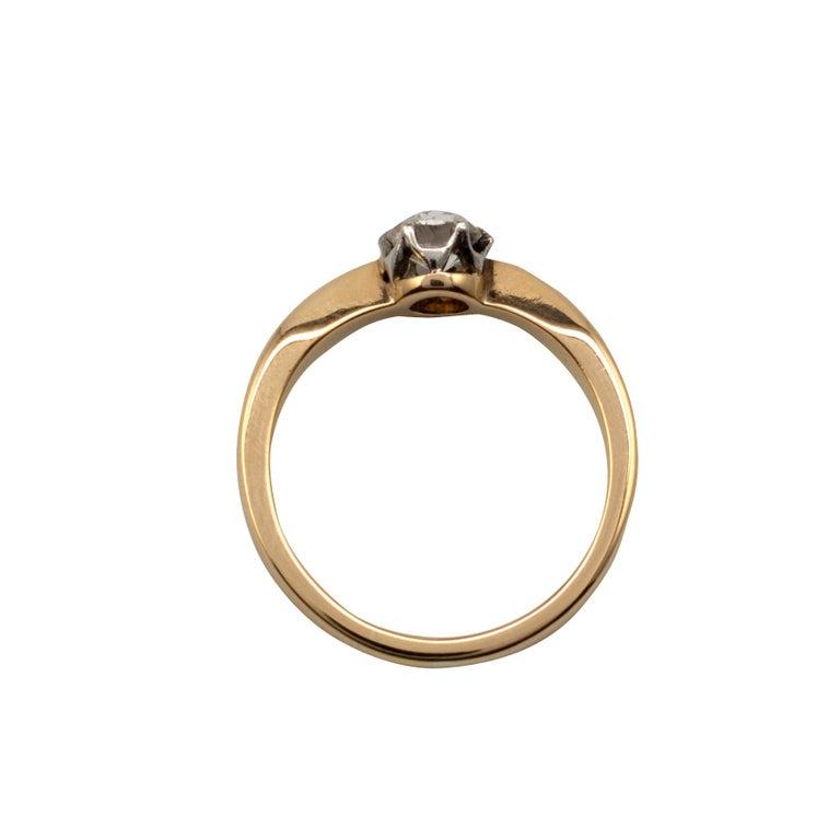 Women's Diamond Solitaire Engagement Ring 0.50 Carat, 18 Karat Yellow Gold For Sale