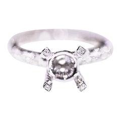 Diamond Solitaire Engagement Ring 18 Karat White Gold