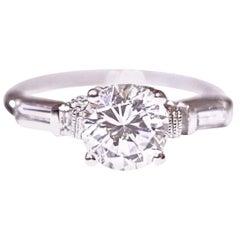 Diamond Solitaire Engagement Ring Platinum .44 Carat Total of Diamonds CZ Center