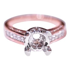 Diamond Solitaire Engagement Ring Rose Gold White Gold .80 Carat Total Weight
