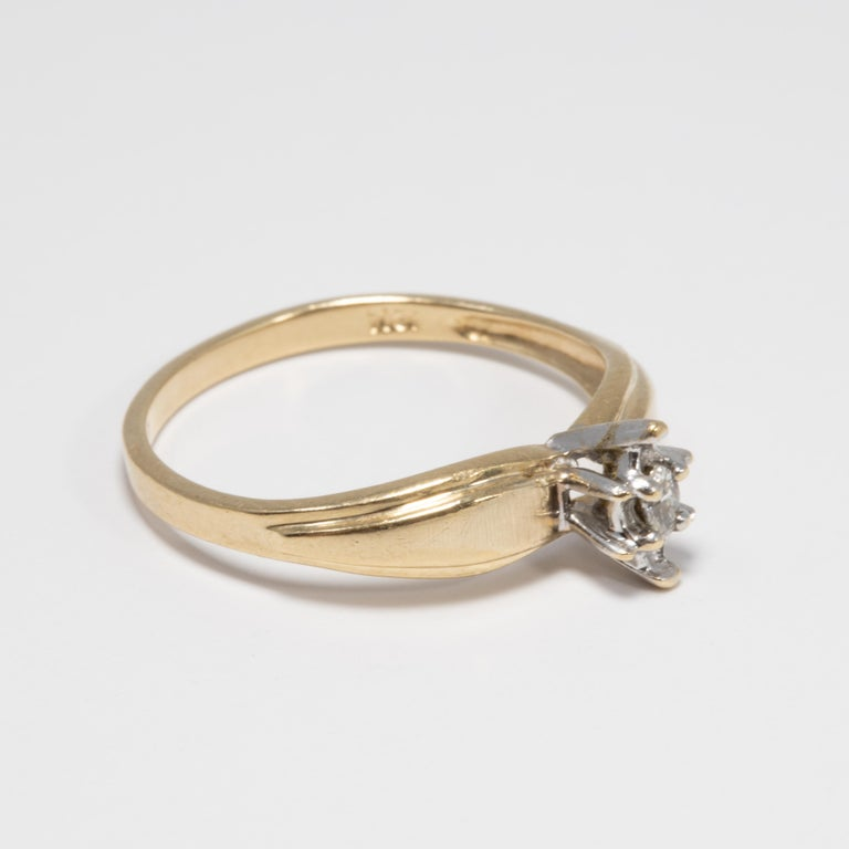 Diamond Solitaire Ring, 14 Yellow and White Gold Raised Setting, .05 ct Marquise In Good Condition For Sale In Milford, DE