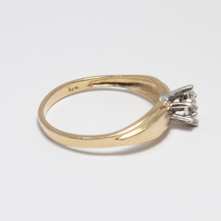 Women's or Men's Diamond Solitaire Ring, 14 Yellow and White Gold Raised Setting, .05 ct Marquise For Sale