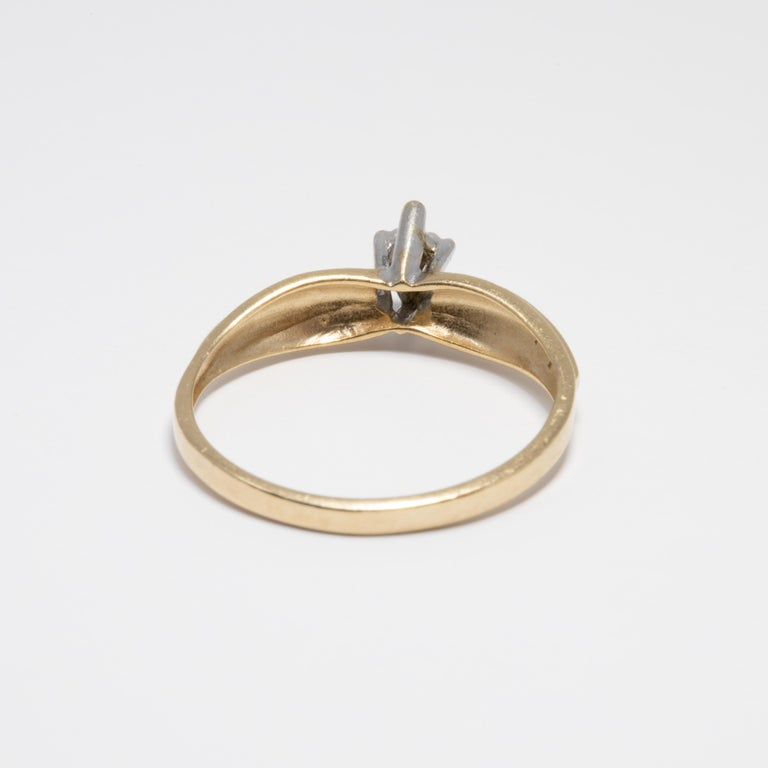 Diamond Solitaire Ring, 14 Yellow and White Gold Raised Setting, .05 ct Marquise For Sale 1