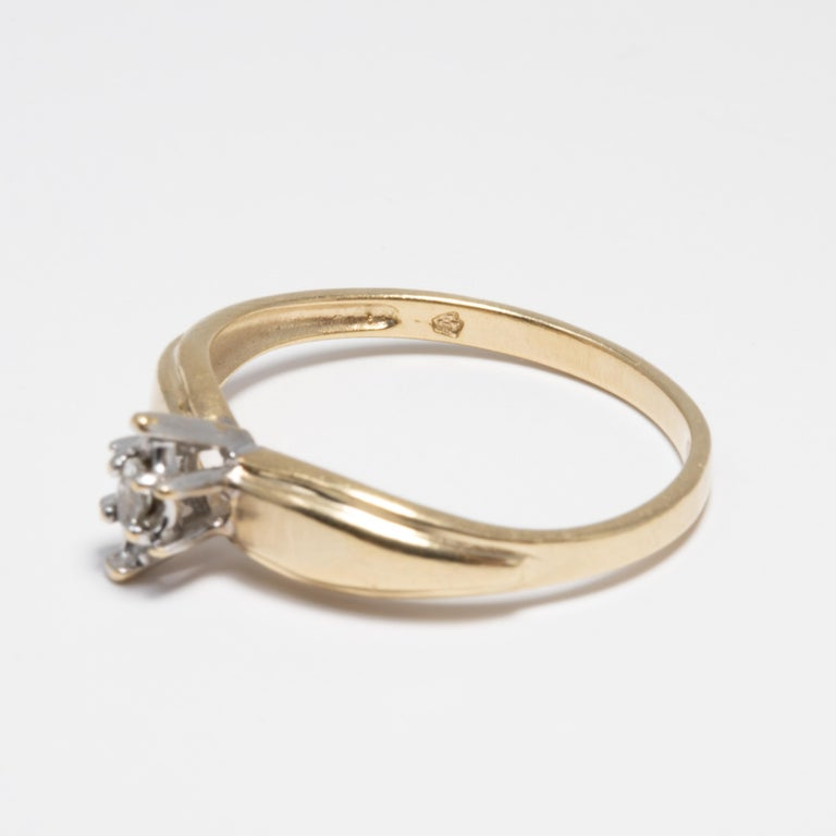 Diamond Solitaire Ring, 14 Yellow and White Gold Raised Setting, .05 ct Marquise For Sale 2