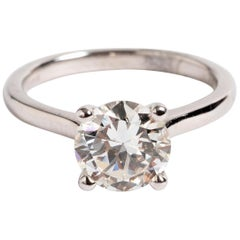 Diamond Solitaire Ring, 1.6 Carat, 18 Karat White Gold, with Certificate