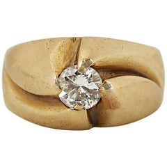 Diamond Solitaire Yellow Gold Ring