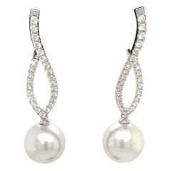 Diamond South Sea Pearl Drop Earrings 0.70 Carat 18 Karat