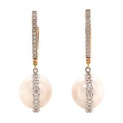 Diamond South Sea Pearl Earrings 14k Gold Large Certified