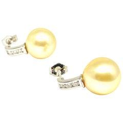 Diamond South Sea Pearl Earrings 14k White Gold Certified