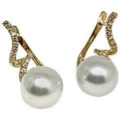 Diamond South Sea Pearl Earrings 14k Yellow Gold 0.13 TCW Certified