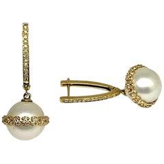Diamond South Sea Pearl Earrings 18k Gold Large Certified